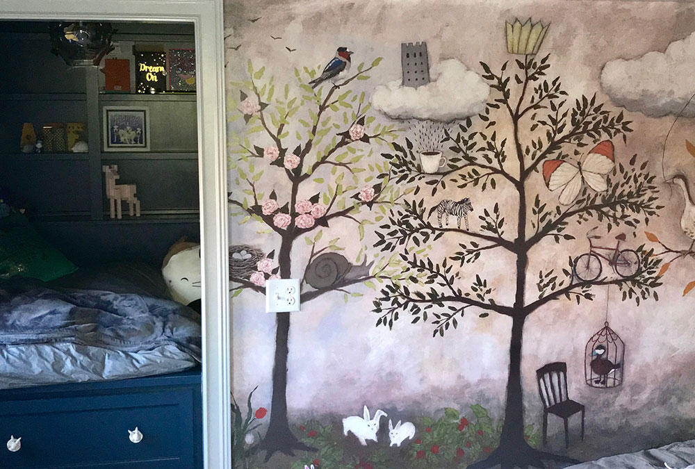 painted trees on wall