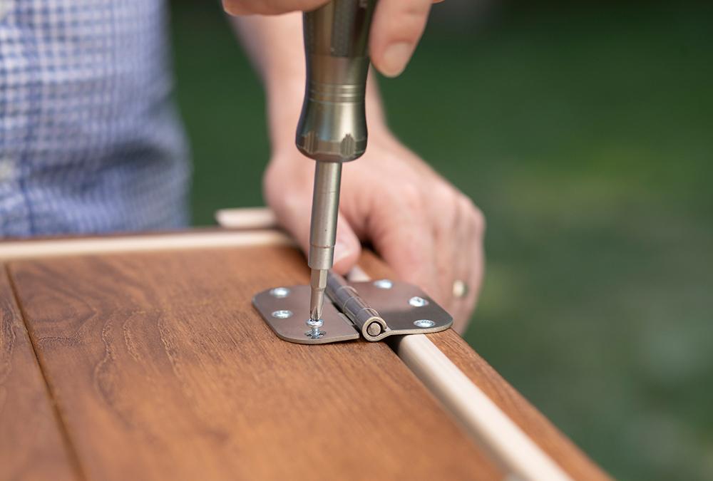 screwdriver and hinges