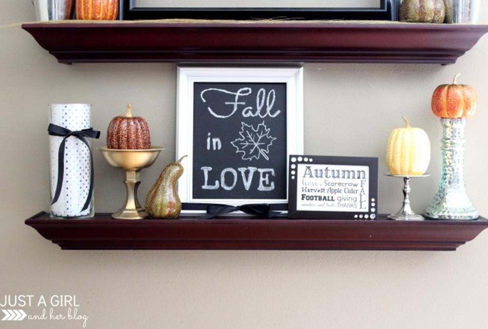 framed chalkboard and pumpkin decor