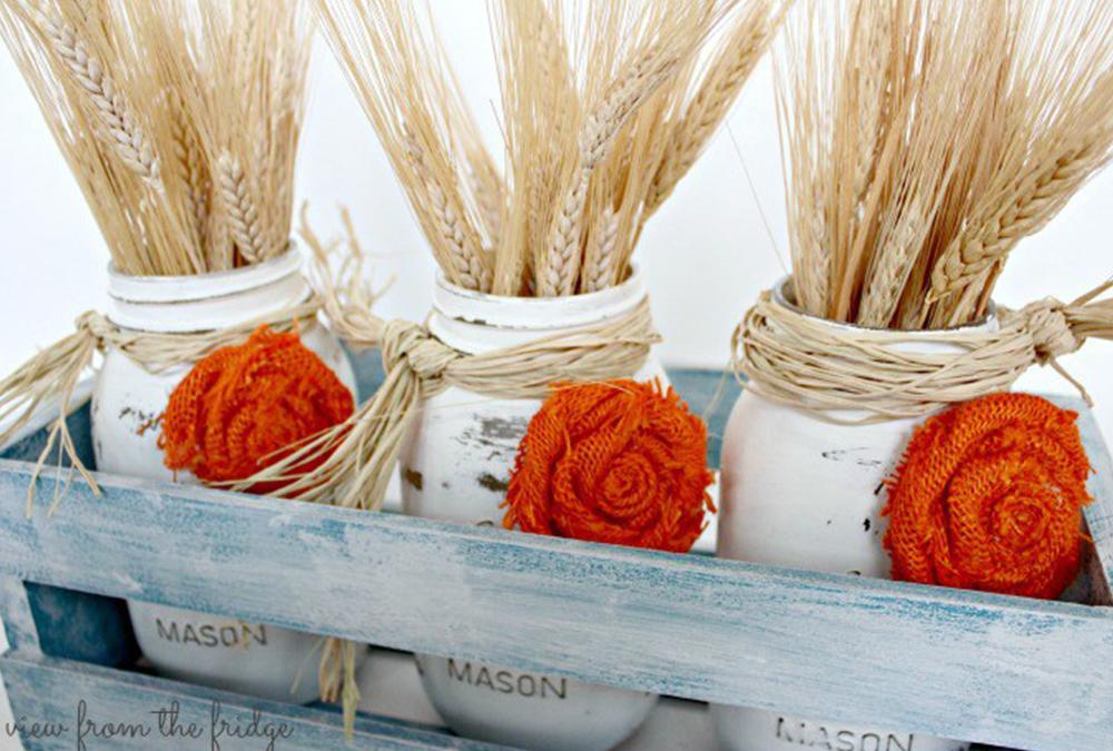 mason jars with wheat
