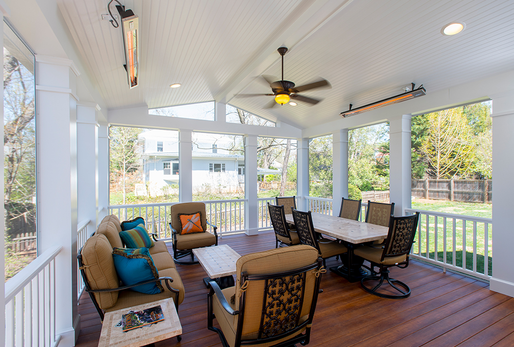 porch with ceiling heaters