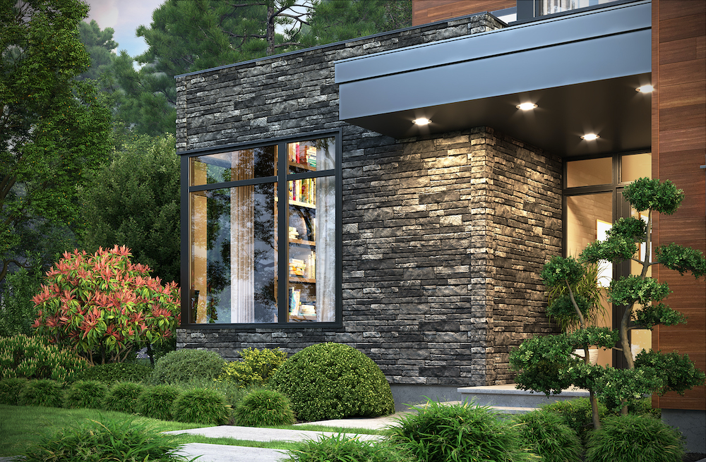 modern house corner window stone siding