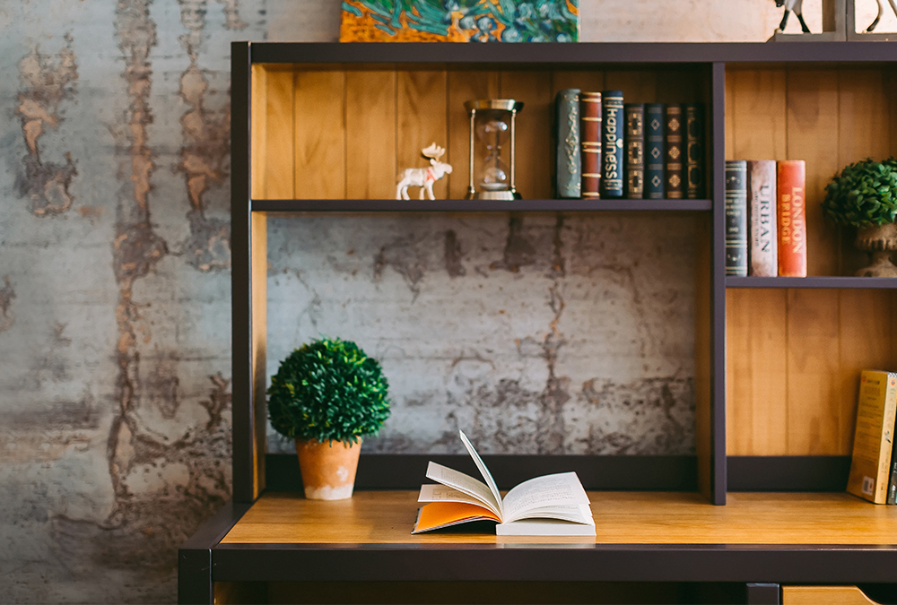 wood desk with plant