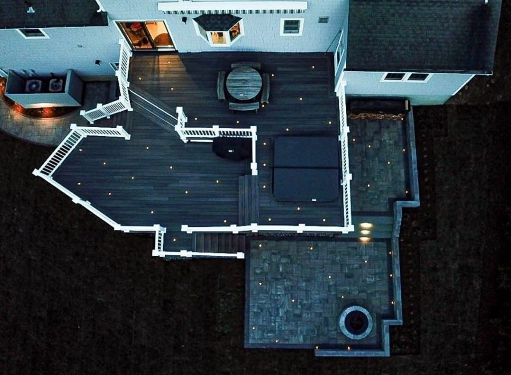birds eye view deck with lights