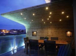 lighted overhang wood shelter