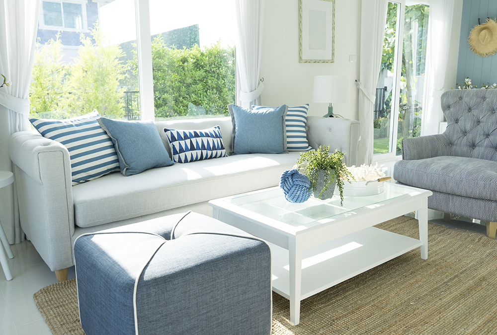 white and blue couch