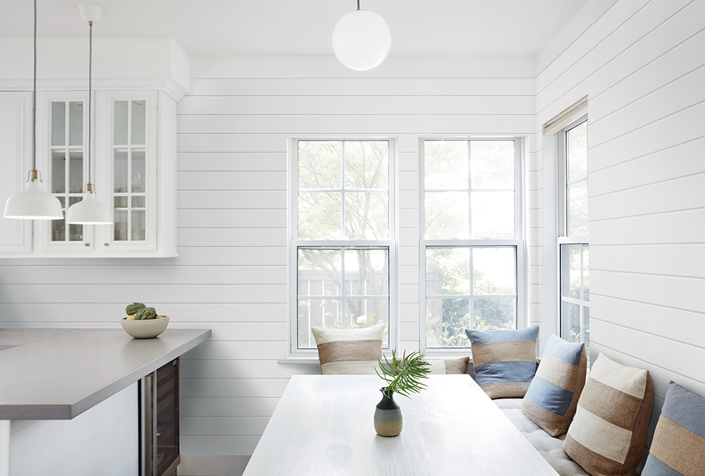 white shiplap walls